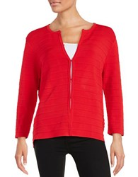 Anne Klein Ribbed Cardigan Vibrant Red