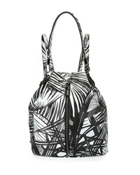 Elizabeth And James Cynnie Leaf Print Leather Drawstring Backpack Black Whtie