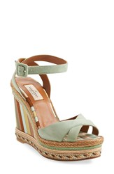 Valentino '1975' Ankle Strap Wedge Women Green Tea Leather
