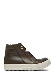 Rick Owens Island Dunk Pull On Leather Sneaker Brown