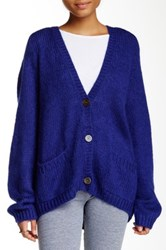 American Apparel Mohair Blend Loose Cardigan Blue