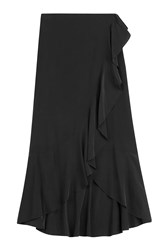 Theory Silk Maxi Skirt With Ruffle Black