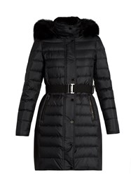 Burberry Abbeydale Fur Trimmed Quilted Down Coat Black