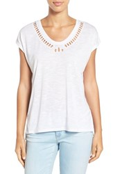 Dex Women's Laser Cutout Dolman Sleeve Tee White