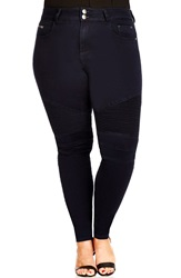 City Chic 'Moto' Stretch Skinny Jeans Dark Denim Plus Size