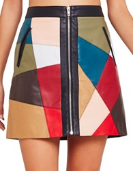 Bcbgeneration Patched Faux Leather Moto Skirt Multi