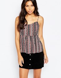 Vero Moda Folk Print Cami Top White