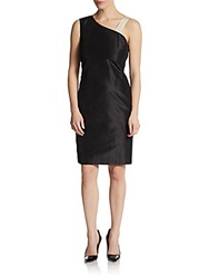 Pauw Asymmetrical Strap Silk Dress Black