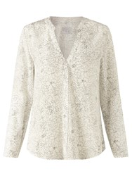Jigsaw Sketch Floral Open Neck Blouse Ivory