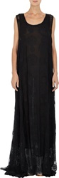 Ann Demeulemeester Embroidered Gauze Cape Back Gown Black Size 34 Fr