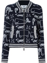 Thom Browne Animal Print Zip Up Cardigan Blue