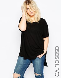 Asos Curve V Neck Oversized Slouchy Rib Top Black