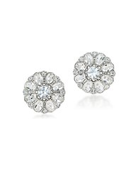 Carolee Broadway Lights Crystal Button Studs Silver