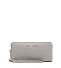 Michael Kors Jet Set Travel Saffiano Leather Continental Wallet Pearl Grey