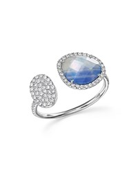 Meira T 14K White Gold Sapphire And Moonstone Doublet Open Ring With Diamonds Blue White