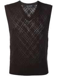 Neil Barrett Prince Of Wales Sleeveless Sweater Brown