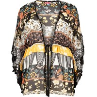 River Island Womens Ri Plus Black Printed Drawstring Kimono