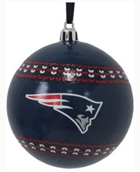 Memory Company New England Patriots Ugly Sweater Ball Ornament Navy