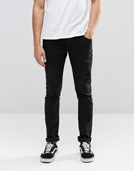 Solid Black Skinny Fit Jeans With Stretch Black