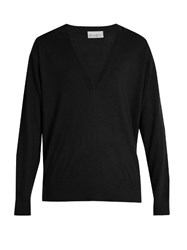Raey V Neck Fine Knit Cashmere Sweater Black