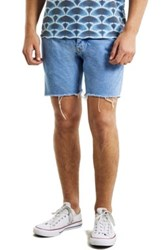 Topman Skinny Fit Cutoff Denim Shorts Blue