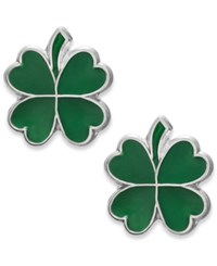 Macy's Children's Four Leaf Clover Stud Earrings In Sterling Silver