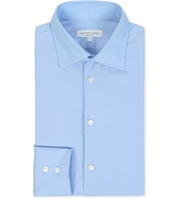 Richard James Poplin Tailored Fit Single Cuff Shirt Blue