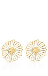 Alison Lou Large Daisy Earrings White