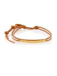 Chan Luu Mother Of Pearl And Leather Beaded Bar Bracelet Tan Gold