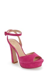 Women's Kay Unger 'Laelyn' Platform Sandal Fuschia Suede Leather