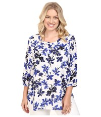 Nydj Plus Size Solid 3 4 Sleeve Pleat Back Miramar Floral Blue Women's Long Sleeve Button Up