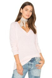 White Warren Side Slit V Neck Sweater Pink