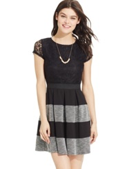 Speechless Juniors' Lace Striped Pleated Dress Black White