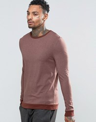 Asos Muscle Long Sleeve T Shirt With Contrast Rib Hem And Cuffs Brown