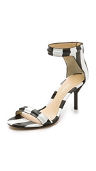 3.1 Phillip Lim Martini Mid Heel Sandals Black White