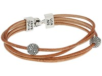 King Baby Studio Multi Strand Brown Leather Cord Bracelet W Hook Clasp And Stingray Beads Silver Brown Bracelet Taupe