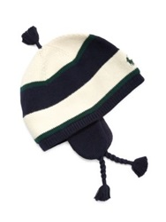 Ralph Lauren Baby's Striped Earflap Hat Crescent Ceam