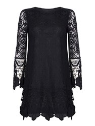 Mela London Art Deco Lace Tunic Dress Black