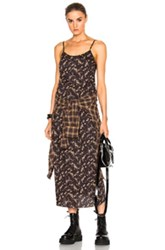 R 13 R13 Slip Grunge Dress In Black Brown Floral Checkered And Plaid Black Brown Floral Checkered And Plaid