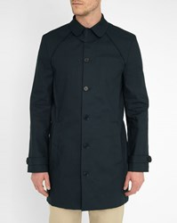 Carven Navy Double Face Cotton Trench Coat Blue