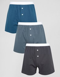 Asos Jersey Boxers In Blue 3 Pack Blue