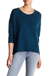 Kut From The Kloth Crew Neck Solid Long Sleeve Tee Blue