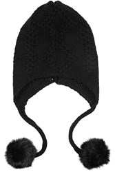 Autumn Cashmere Faux Fur Trimmed Cashmere Hat Black