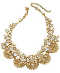 Kate Spade New York Gold Tone White Imitation Pearl And Crystal Filigree Collar Necklace