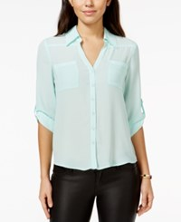 Amy Byer Bcx Juniors' Roll Tab Button Front High Low Blouse Mint