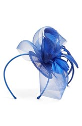 Nordstrom Feathered Sinamay Fascinator Headband Blue Royal Blue