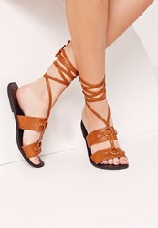 Missguided Ankle Wrap Strap Ring Detail Flat Sandal Tan Brown