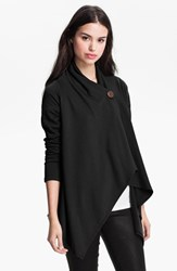 Petite Women's Bobeau One Button Fleece Wrap Cardigan Black
