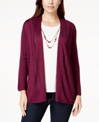 Alfred Dunner Petite Patterned Trim Layered Look Cardigan Top Mulberry