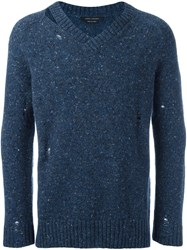 Marc Jacobs Distressed Jumper Blue